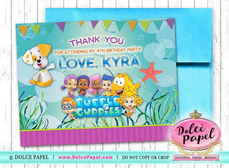 10 BUBBLE GUPPIES Birthday Party Thank You Cards FLAT Card Blank on Back 4.25x5.5