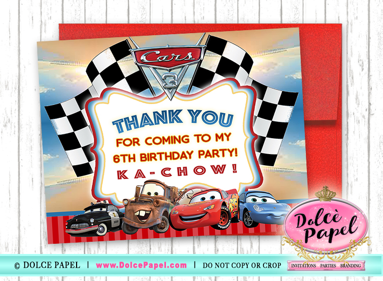 10 Cars Movie Lightning McQueen Birthday Party Thank You Cards FLAT Card Blank on Back 4.25x5.5