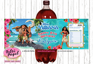 10 MOANA Teal Beach Princess Party Birthday Party Polka Dot 2-Liter Soda Bottle Labels Peel and Stick