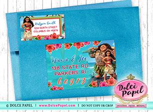 10 MOANA Birthday Party RETURN Address Labels for your Invitation Envelopes!