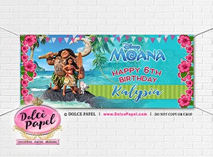 Large 6'x2.5 Moana Inspired Vinyl Birthday Party Banner featuring Moana and Maui! Gromets included