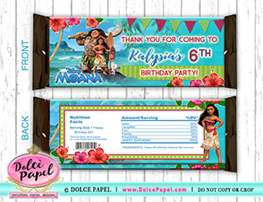 10 MOANA Inspired Birthday Party Maui Large Hershey's Candy Bar Wrappers