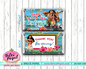 10 MOANA Inspired Maui Ocean Princess Custom Birthday Mini Hershey Candy Bar Wrappers