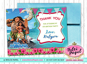 10 MOANA Inspired Maui Ocean Princess Birthday Party Thank You Cards  Flat 4.25x5.5