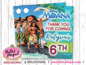 10 MOANA Inspired Maui Ocean Princess Birthday Party Favor Tags