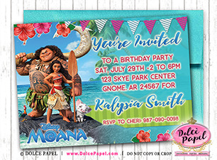 Moana Princess Inspired Maui  Custom Birthday Party Invitations