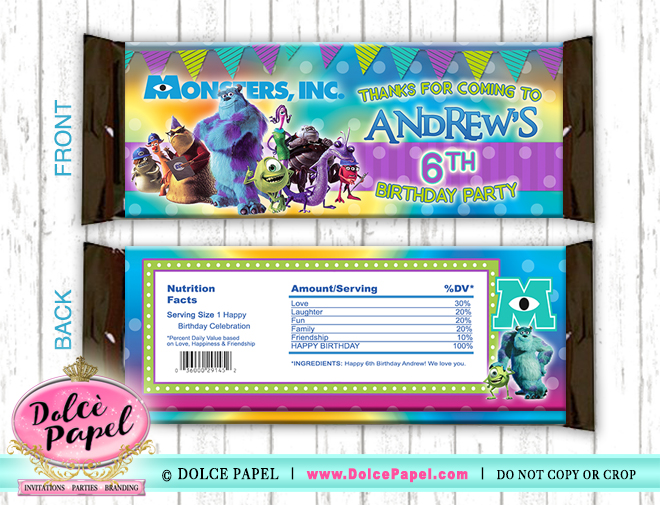 10 Monsters Inc. Birthday Party Purple and Teal Large Hershey's Candy Bar Wrappers