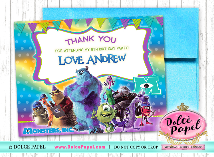 10 Monsters Inc Birthday Party Thank You Cards FLAT Card Blank on Back 4.25x5.5