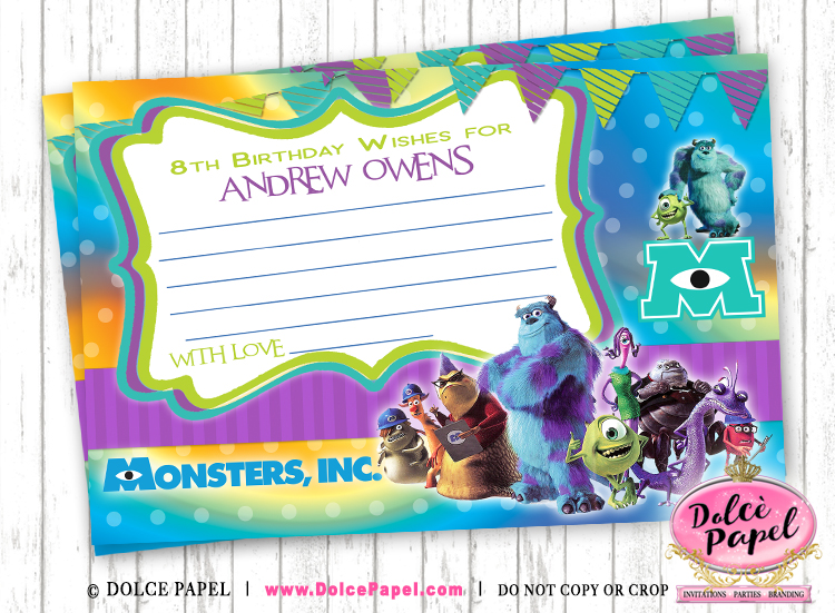 10 Monsters Inc. Birthday Party Favors Leave A Wish Cards in 4x6