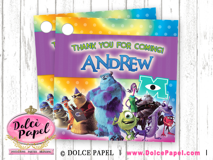10 MONSTERS INC Purple and Teal Birthday Party Favor Tags