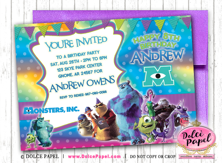 MONSTERS INC Inspired Purple and Teal Birthday Party Invitations