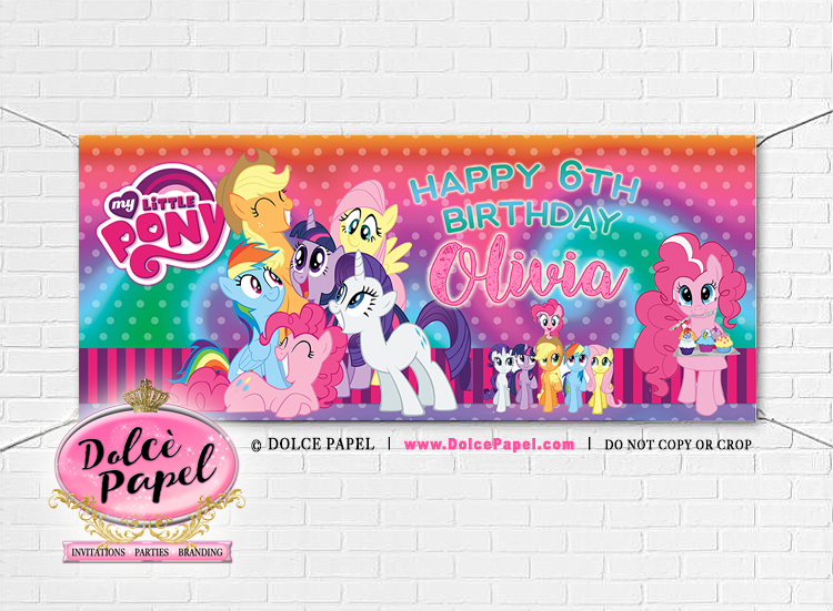 Large 6'x2.5 My Little Pony Vinyl Birthday Party Banner Black and Pink Gromets included