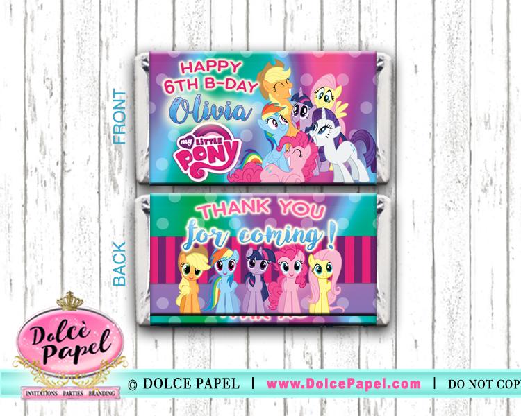 10 My Little Pony Custom Birthday Mini Hershey Candy Bar Wrappers