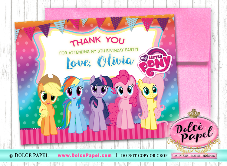10 MY LITTLE PONY Birthday Party Thank You Cards FLAT Card Blank on Back 4.25x5.5