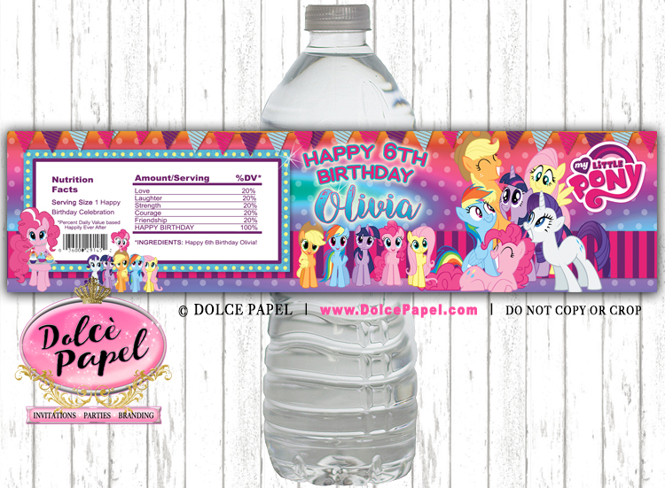 10 MY LITTLE PONY Theme Purple and Pink Water Bottle Labels - Peel-n-Stick