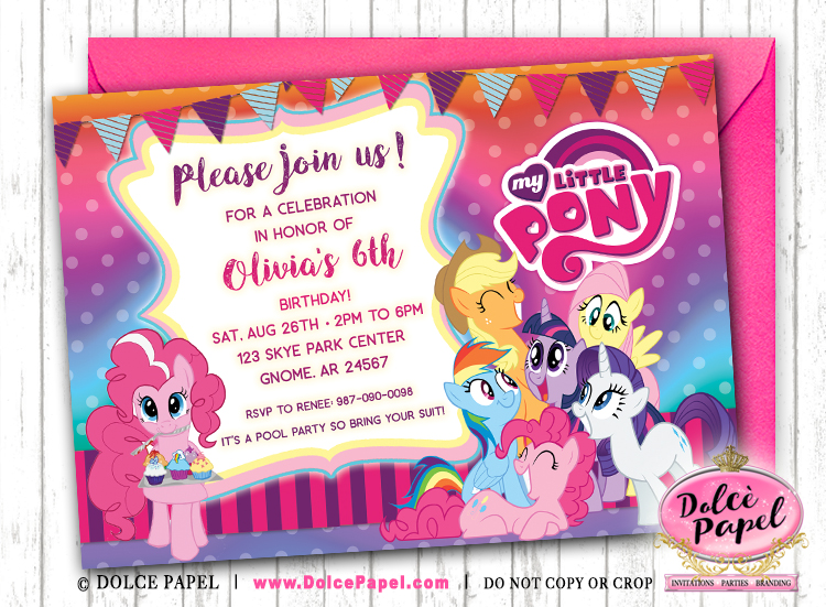 MY LITTLE PONY Inspired Purple and Pink Birthday Party Invitations