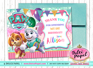 10 Paw Patrol Girl Skye and Everest Pink and Teal Birthday Party Thank You Cards Flat 4.25x5.5