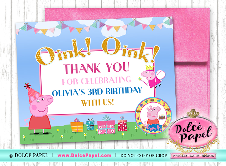 10 PEPPA PIG Birthday Party Thank You Cards FLAT Card Blank on Back 4.25x5.5