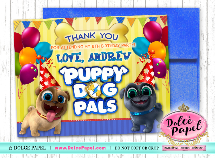 10 PUPPY DOG PALS Birthday Party Thank You Cards FLAT Card Blank on Back 4.25x5.5