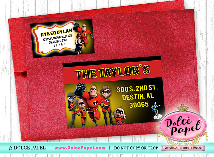 THE INCREDIBLES GUEST Address Labels for your Invitation Envelopes