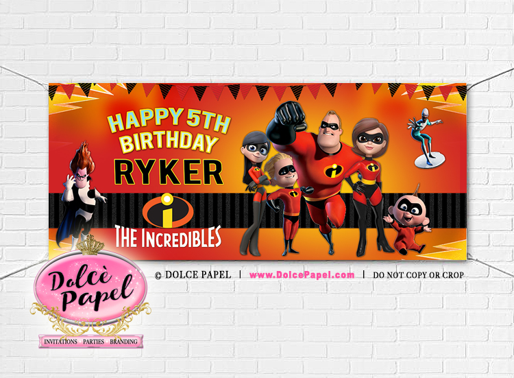 Large 6'x2.5 THE INCREDIBLES Vinyl Birthday Party Banner Black and Pink Gromets included