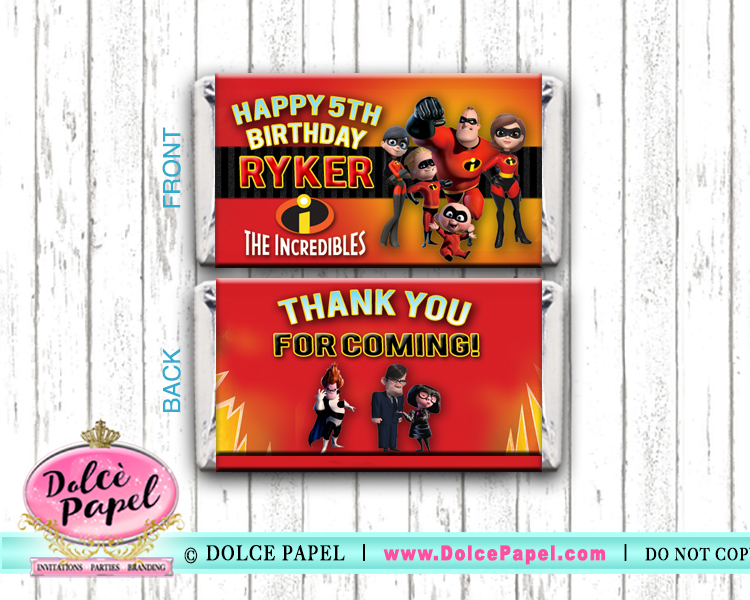 10 THE INCREDIBLES Custom Birthday Mini Hershey Candy Bar Wrappers