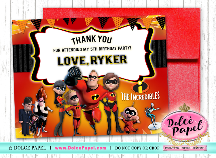 10 THE INCREDIBLES Birthday Party Thank You Cards FLAT Card Blank on Back 4.25x5.5