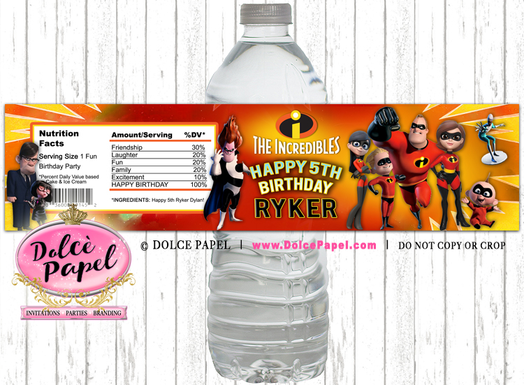 10 THE INCREDIBLES Inspired Water Bottle Labels - Peel-n-Stick
