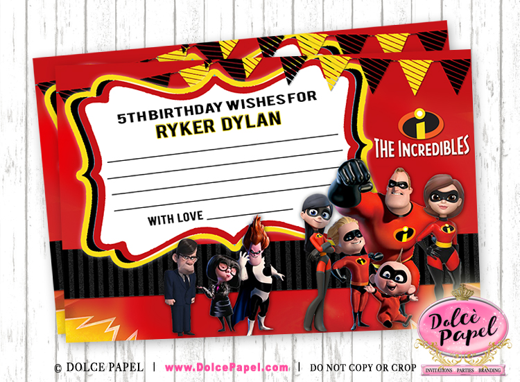 10 THE INCREDIBLES Birthday Party Favors Leave A Wish Cards in 4x6