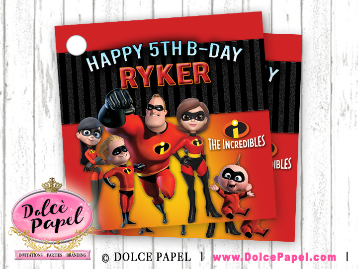 10 THE INCREDIBLES Inspired Birthday Party Favor Tags