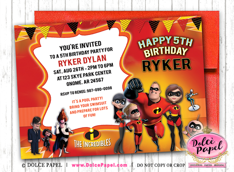 THE INCREDIBLES Inspired AWESOME Birthday Party Invitations