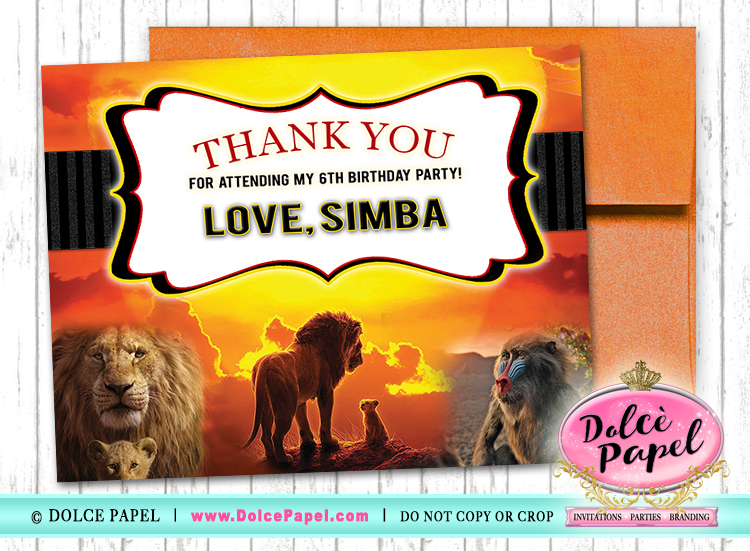 10 THE LION KING Birthday Party Thank You Cards FLAT Card Blank on Back 4.25x5.5