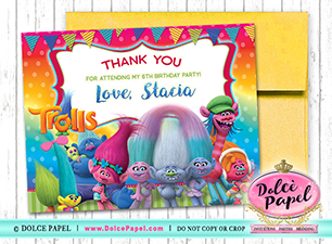 10 TROLLS Inspired Princess Poppy Bridge and King Rainbow Birthday Party Thank You Cards  Flat 4.25x5.5