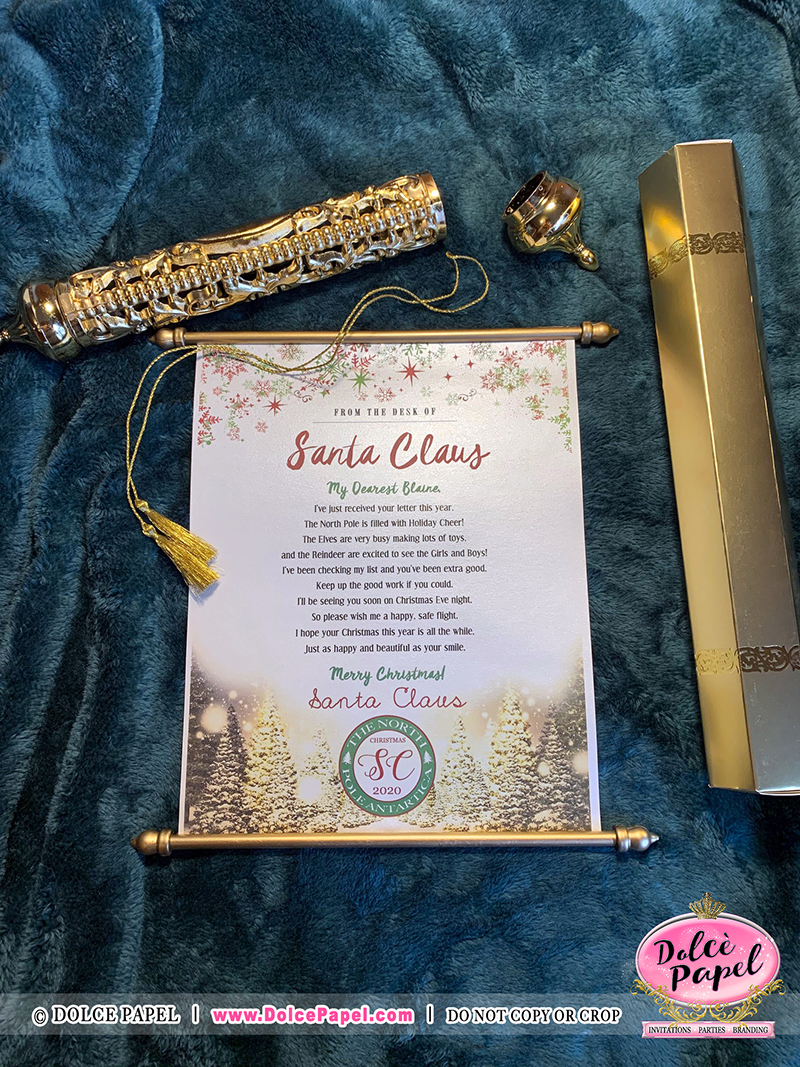 Design #4 - Letters From Santa Claus - North Pole Airmail Golden Scroll Handmade & Not Sold Anywhere Else but HERE!