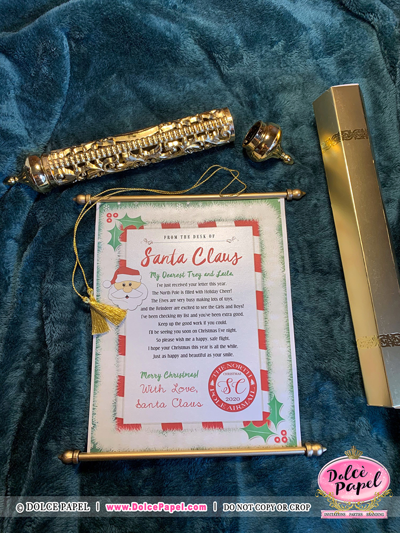Design #6 - Letters From Santa Claus - North Pole Airmail Golden Scroll Handmade & Not Sold Anywhere Else but HERE!