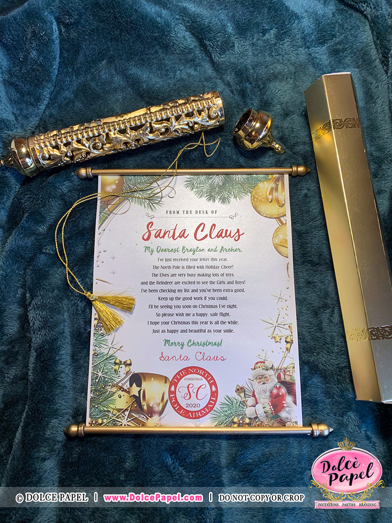 Design #7 - Letters From Santa Claus - North Pole Airmail Golden Scroll Handmade & Not Sold Anywhere Else but HERE!