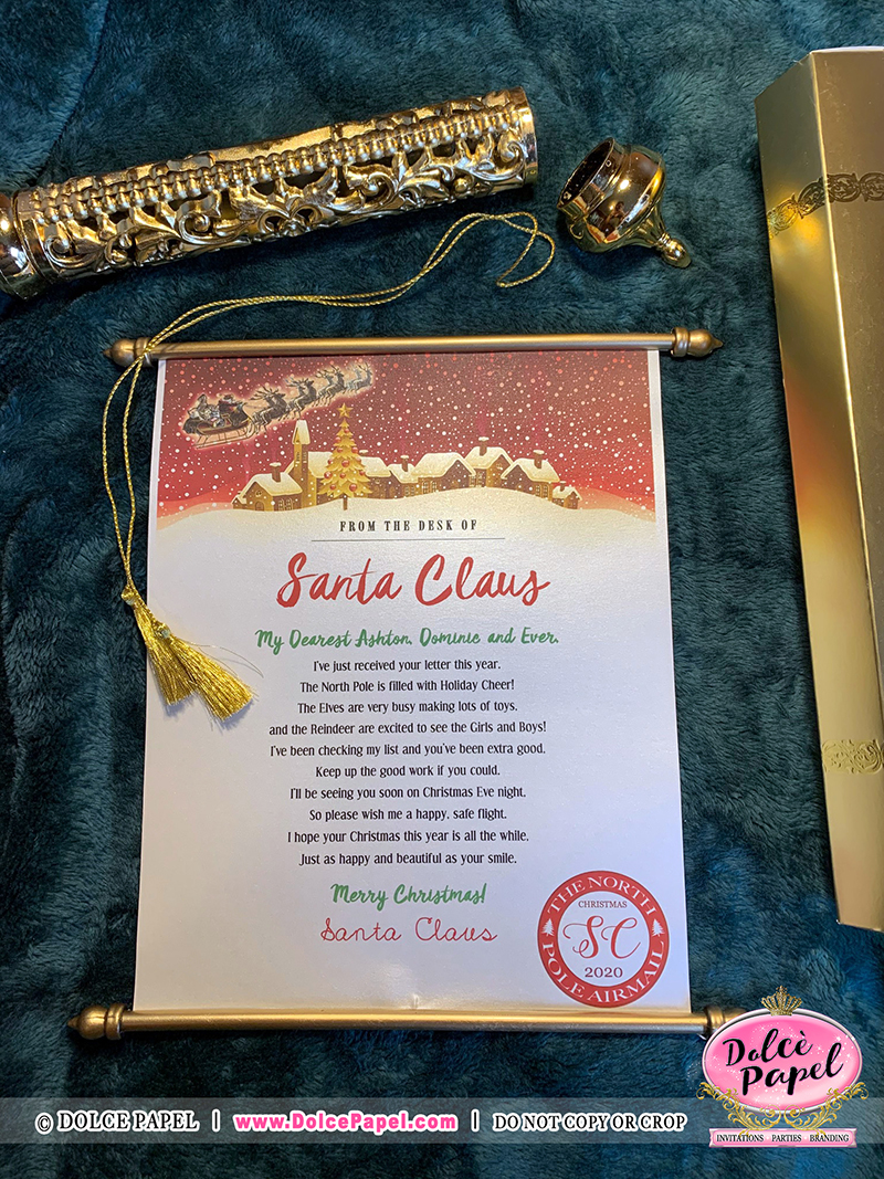 Design #8 - Letters From Santa Claus - North Pole Airmail Golden Scroll Handmade & Not Sold Anywhere Else but HERE!