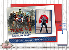 VINTAGE AVENGERS Custom Photo Birthday Party Thank You Cards Specialty Folding Card 4.25x5.5