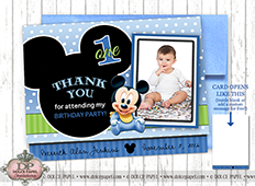 BABY MICKEY MOUSE Black and Blue Metallic Birthday Party Thank You Cards Specialty Folding Card 4.25x5.5