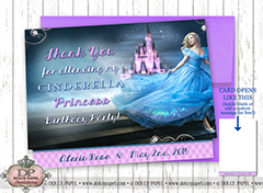 PRINCESS CINDERELLA Shimmery Metallic Birthday Party Thank You Cards Specialty Folding Card 4.25x5.5