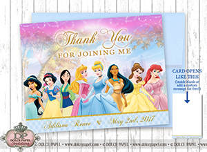 10 Disney Princess Elegant Gold Crown Jasmine, Snow White, Mulan, Sleeping Beauty, Cinderella, Pocahontas, Belle, Ariel Thank You Cards Specialty Folding Card 4.25x5.5
