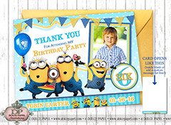 CRAZY FUN MINIONS Teal and Yellow Metallic Birthday Party Thank You Cards Specialty Folding Card 4.25x5.5