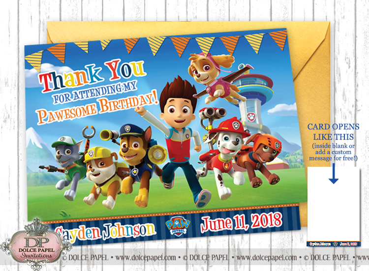 PAW PATROL Pawtastic Fun Crew Birthday Party Thank You Cards Specialty Folding Card 4.25x5.5