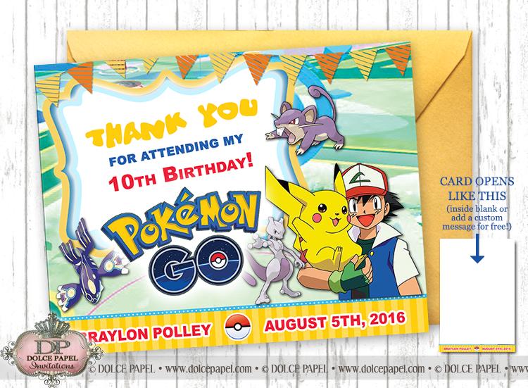 Pokemon Go Pikachu Birthday Thank You Cards Specialty Folding Card 4.25x5.5