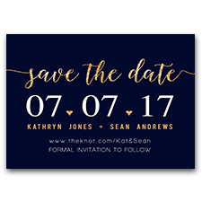 Dark Navy Blue & Gold Glitter Modern 5x7 Save The Date Cards