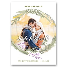 Watercolor Wreath Pastel Custom Photo 5x7 Wedding Save The Date Cards