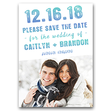 Ice Blue and Teal Winter Wedding Photo 5x7 Wedding Save The Date Cards