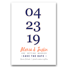 Navy Blue & Coral Modern Large Numbers 5x7 Wedding Save The Date Cards