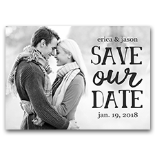 Full Photo Black & White Custom 5x7 Wedding Save Our Date Cards