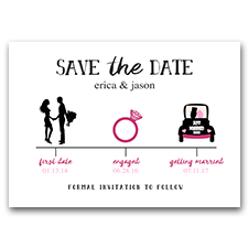 Timeline First Date Engaged Wedding 5x7 Save The Date Cards Pink and Black